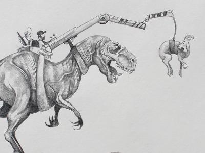 Training T-Rex illustration pencil sketch drawing