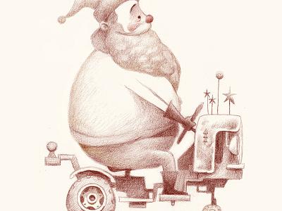 Tiny Tree Hauler sketch tractor christmas holidays santa