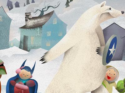 Snowday Recon illustration polar bear snow day textures childrens book illustration polar bear illustration
