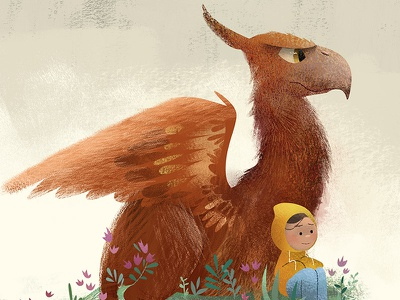 My pal, Griffin childrens book illustration gryphon griffin