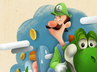 Luigi illustration super mario world luigi yoshi nintendo textures