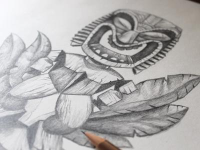 Tikis illustration tiki statue tiki pencil sketch pencils tiki drawing