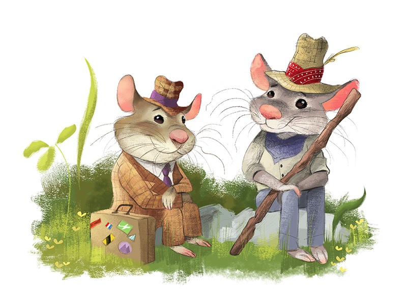 Waiting for a ride... childrens illustration city mouse illustration