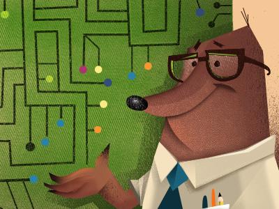 Mole Maze illustration childrens book illustration maze book mole circuit board