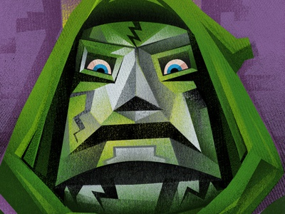 Doom illustration textures dr. doom marvel dribbble