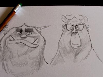 Yetis illustration sketch character design characters childrens book illustration yeti sketch