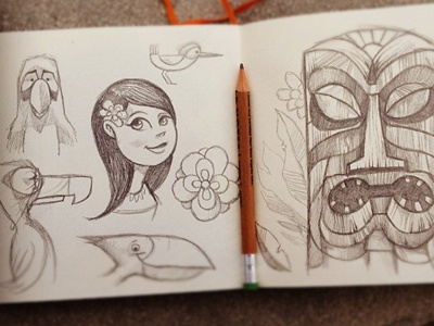 Tiki character sketches illustration character design character development