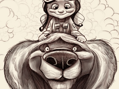 Head In The Clouds illustration childrens book dog illustration