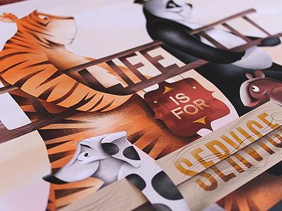 Lift Up illustration help ink poster illustration tiger panda dog badger