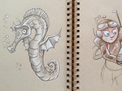 Sea and Air Horse illustration concept concept art pencil pencil sketch