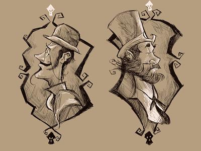 The Gentlemen Ghosts illustration character sketch character design