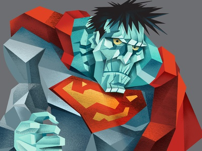bad-bye illustration superman bizarro superheroes villains textures