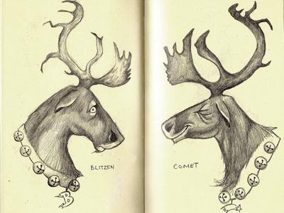 comet illustration sketch reindeer pencil sketch pencils