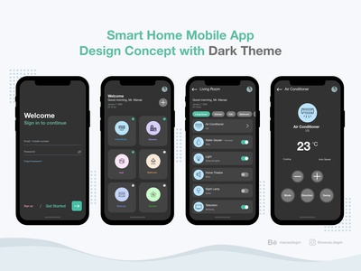 Smart Home Mobile App Design Concept with Dark Theme