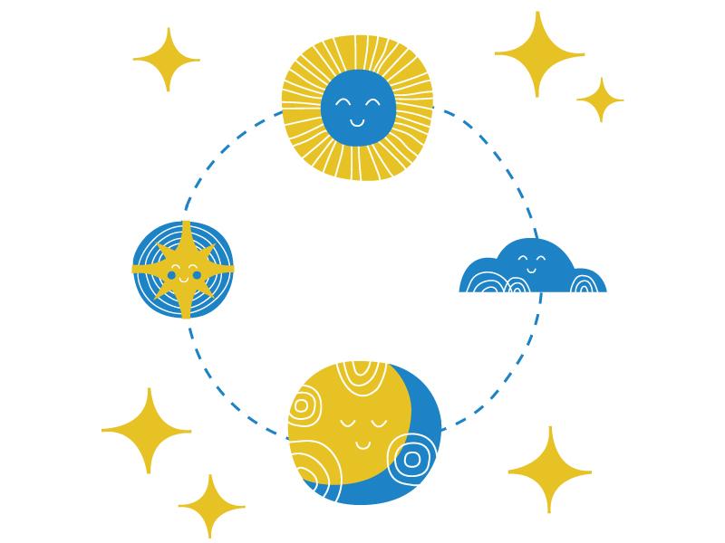 Friendliest Sun, Moon, Stars illustration retro circle stars cloud moon sun