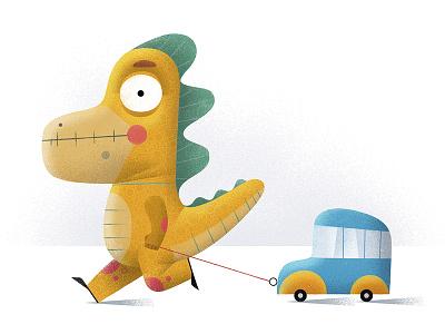 Dinos Love Pulling Toy Cars childrens illustration character design baby dinosaur baby dino dinosaur artist representative digital illustration freelance illustrator illustration spot illustration anna goodson illustration