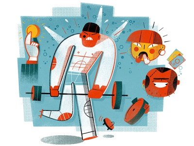 Doing Bad Business strong asian man illustration of asian male man exercising with weights man with weight lifting bar strong man asian people character design anna goodson illustration spot illustration editorial illustration digital illustration freelance illustrator