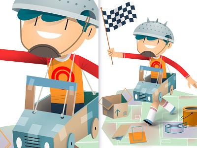 Racing Boy kids character design pure vector adobe illustrator vector digital illustration freelance illustrator