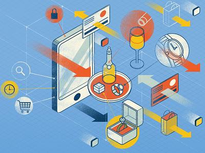 Luxury Enters E-Commerce e-commerce vector business magazine infographics isometric illustration