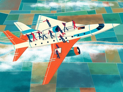 Illustration: Transform Without Stopping people working airplane vector business magazine cover illustration illustration