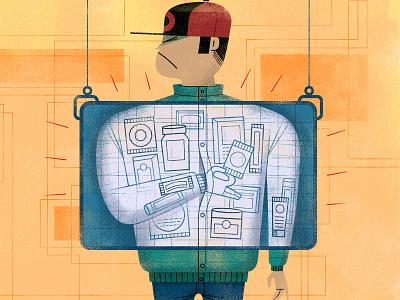 'X-ray on a shoplifter' vector employee magazine shoplifting x-ray shoplifter editorial illustration character design spot illustration digital illustration