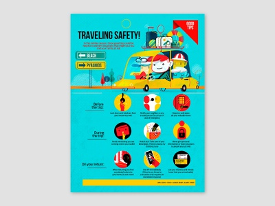 Traveling Safety!, spot illustration and icons vector icons icons springbreak summer holidays family traveling employee magazine character design in-house magazine editorial illustration freelance illustrator spot illustration digital illustration