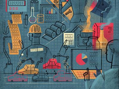'Automatization', Editorial Illustration (Detail) vector industry automatization expansion magazine illozoo business magazine artist representative illustration freelance illustrator digital illustration