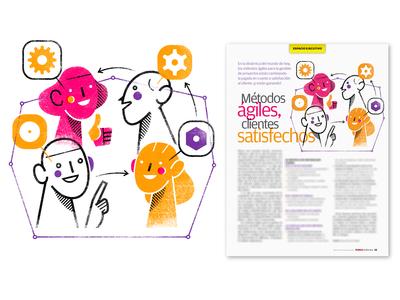 Spot Illustration: 'Agile Methods, Satisfied Customers'
