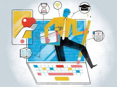 Illustration: 'The Faces Of Digitalization In Education' parents teachers classroom design education laptop illustration of teacher freelance illustrator digital illustration educational system digitalization