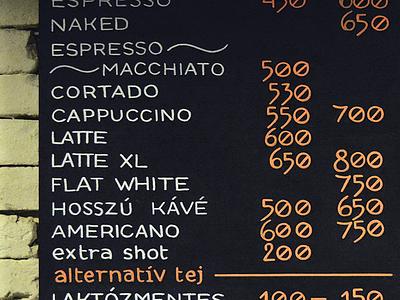 Budapest Baristas chalkboard typography type letters list menuboard lettering marker chalk chalkboard