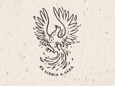 Ex libris Sára Ahmad illustration graphic design mythical creatures stamp hairline bookplate ex libris bird phoenix