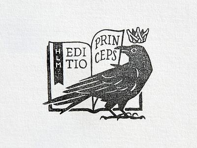 First Edition stamp emblem bird rubber stamp fairytale crow animal stamp logo bookplate ex libris