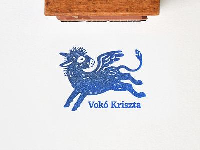 Ex libris Vokó Kriszta design burro graphic bookplate rubber stamp brand emblem logo stamp ex libris donkey