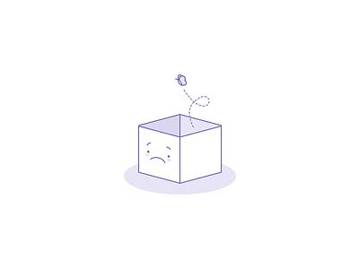Empty sad box design website ui icon character illustration