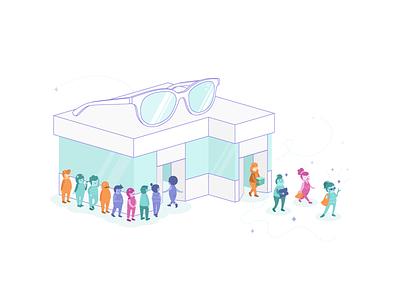 Happy Customers magic glasses sale shop monster illustration