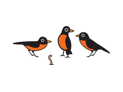 The Unlucky Worm birds robin illustration