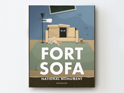 Fort Sofa summer parenting children covid19 staycation stayhome poster art travel poster concept illustration design brand