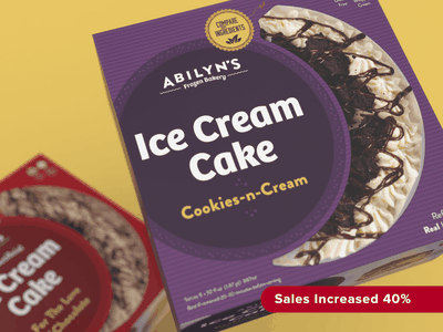 Abilyn's Frozen Bakery validation ice cream cake packaging design brand logo