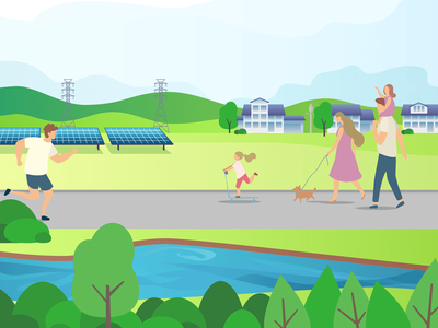Community Solar solar energy illustrator illustration