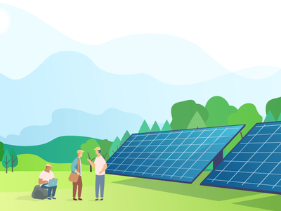 Community Solar solar energy illustrator illustraion