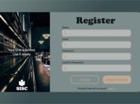 SISC Regristration page registration login page login ux design ui