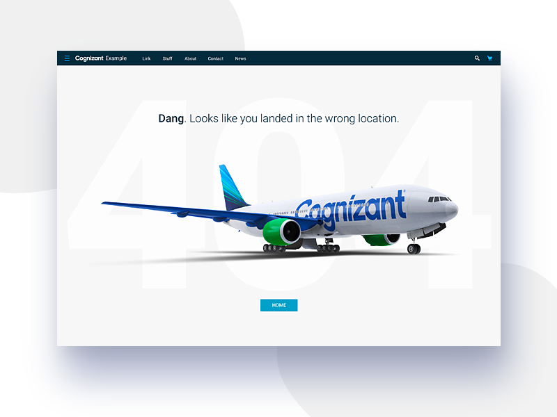 Cognizant Accelerator 404 Page design brand airplane uxui ux web design website design systems user interface ui 404 error page 404 error 404