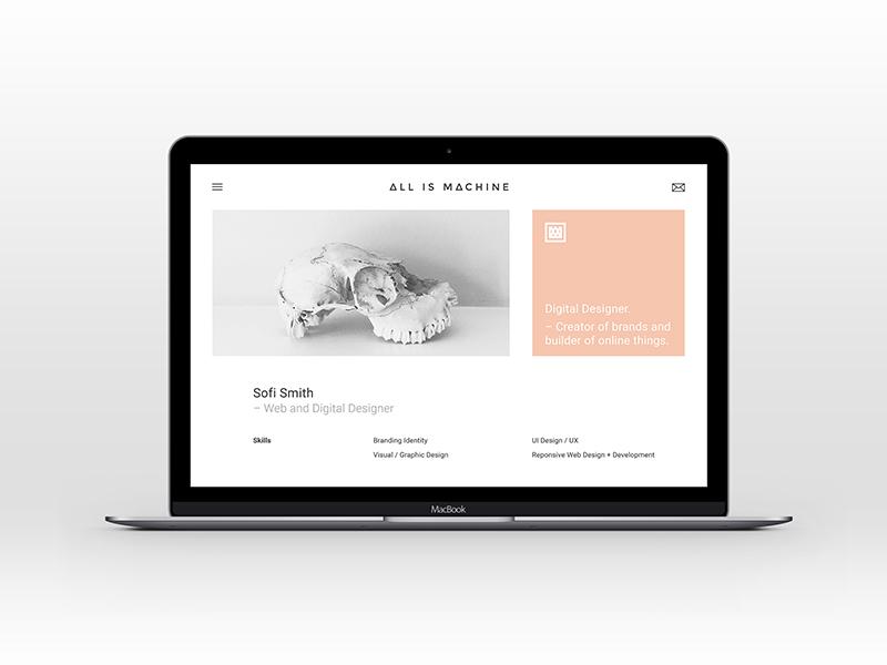 New website is live - All is Machine freelance branding web design portfolio grotesque white swiss minimal flat pastel design