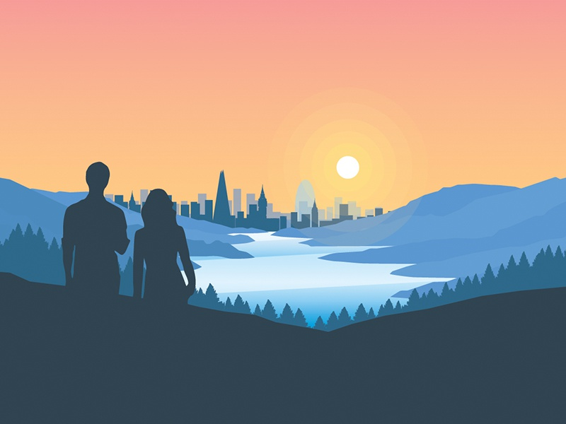 WIP city + countryside illustration texture depth minimal silhouette signage city sunrise warm flat illustration design landscape