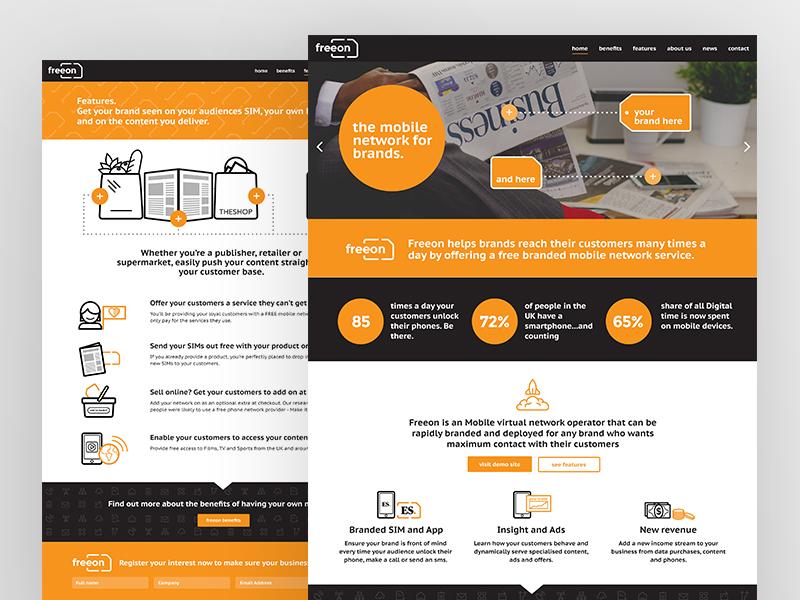 Website Design + Build for Mobile Network website graphic design ui identity branding mobile icon iconography illustration flat web design orange