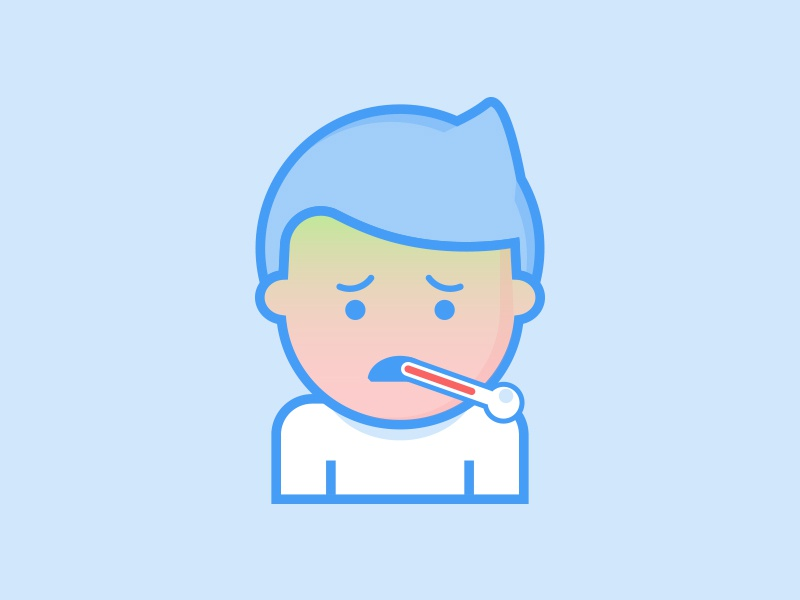 Little guy that's ill - Illustration Series minimal flat design vector line drawing illustration sick thermometer user man character ill