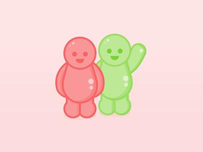 Happy Customers illustration - Jelly Babies flat shiny corporate customer character waving happy jelly baby jelly illustration iconography icons
