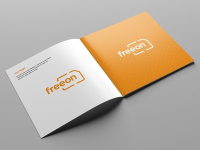 Freeon - Branding and Guidelines brand sim minimal bold identity corporate mobile network mobile orange brand guidelines branding