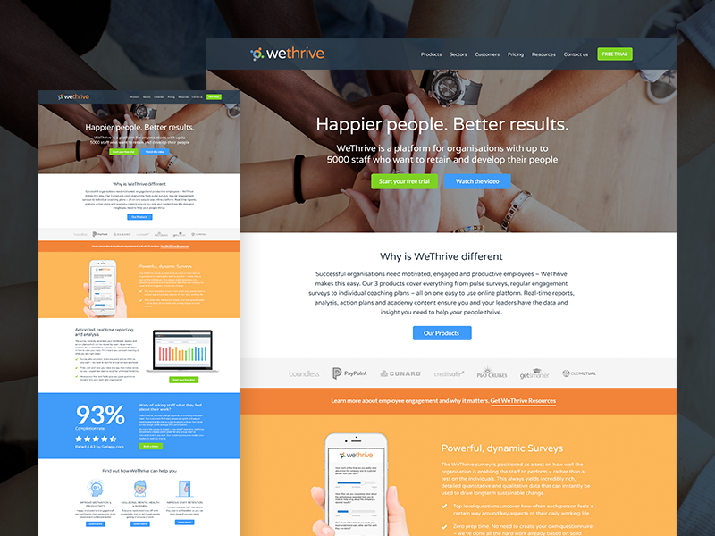 WeThrive Marketing Website Re-Design redesign product design product software web design website branding design orange web flat app