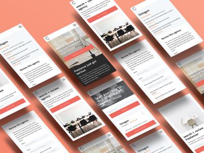 The Freelance Circle - Review Website Design design monochrome red freelance responsive mobile reviews web design flat ui app website